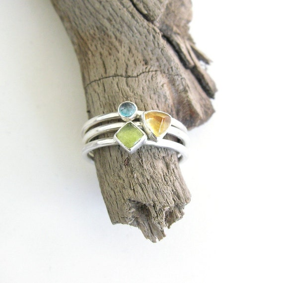 GEOMETRY - Sterling silver stacking rings with topaz, citrine & peridot