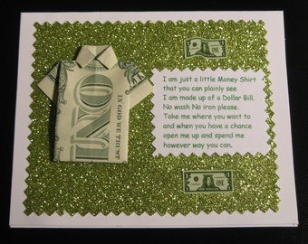 Handmade Origami Money Shirt  Note Cards  All Occasion
