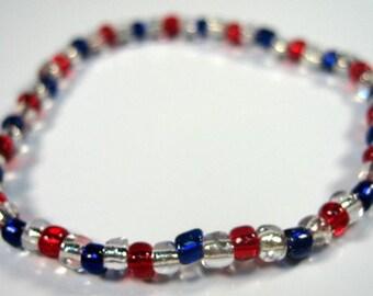 Patriotic Stretch Bracelet  Red, White and Blue