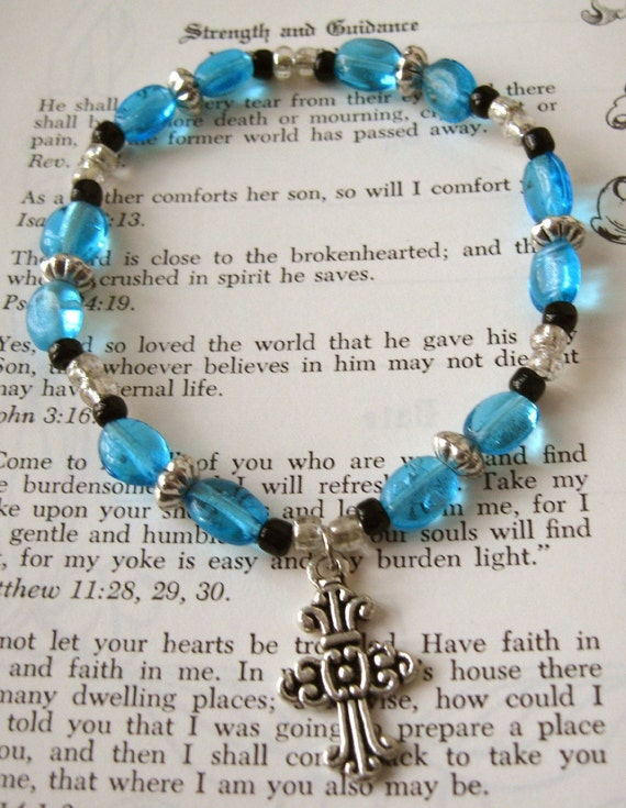 Blue and Black Bead  Stretch Bracelet with Cross Charm