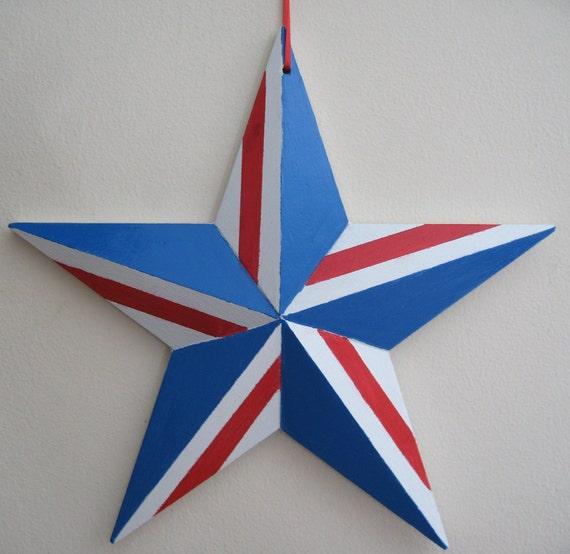 Patriotic Wood Star Wall Hanging USA America July 4th