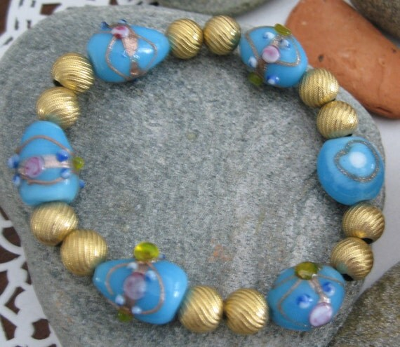 Turquoise Lamp Work  Beaded  Stretch Bracelet