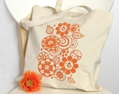 TOTEBAG Screenprinted Canvas Cotton Market Purse Bag Abstract Geometric Retro Flower Leaf Bright Tangerine Orange (TB19)