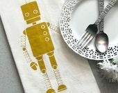 TEA TOWEL Screenprinted Natural Cotton Flour Sack Robot Geekery Futuristic Techie Bird  Mustard Yellow (TT03)