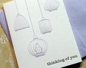 Thinking of You Birds - 3PK Letterpress Greetings (LB03SBX3)