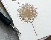 Dandelion Letterpress Stationery Set - Dandelion Note Card Set - Tan, Taupe, Beige, Khaki, Spring Flower, Summer Fall - 10 pack (NDD3) - sweetharvey