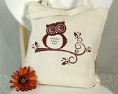 Hoot Owl Tree Branch Autumn Tote bag Screenprint Canvas Market Book Bag Cotton Fabric Rust Orange Red (TB01)