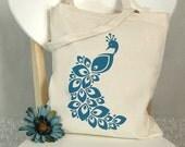 TOTEBAG Screenprinted Canvas Cotton Market Purse Book Bag Peacock Bird (TB08)