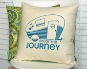 Camper pillow cover, Retro Camper Trailer Screen Print with Chartreuse Green Paisley Pattern (PCRC1)