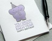 Elephant Happy Birthday Letterpress Greeting Card Plum Violet Lavender Lilac (GEL01)