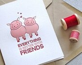 Pig Letterpress Folded Greeting Card - Farm Animal, Pig Couple, Friendship Quote - Pink, Red (GPF01)