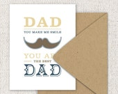 Mustache Fathers Day Card, Western Typography - Folded Greeting Card, Cream, Ivory, Yellow - Single Folded Card