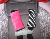 Zebra Minky and Hot Pink Minky Carseat Strap Covers Reversible