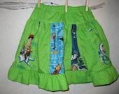 Toy Story Green White Polka Dot Stripwork Panel Twirl Skirt