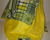 Boys Baby John Deere Yellow Green Patchwork Cotton and Yellow Dot Minky Blanket 33 x 41