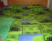 Boys John Deere Green Plaid Farmer Tractor Fleece & Green Minky Twin Size Blanket 90 x 60