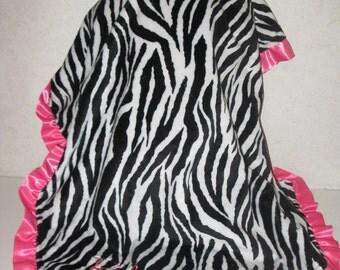 Zebra Minky and Hot Pink Satin Ruffle Blanket 30x36