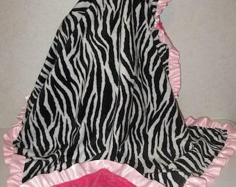 Zebra Minky and Hot Pink Dot Minky Ruffle Baby Toddler Blanket 33 x 41