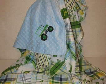 Boys Country Farmer Green Blue Tractor Cotton Patchwork and Minky Minkee Baby Blanket 33 x 41