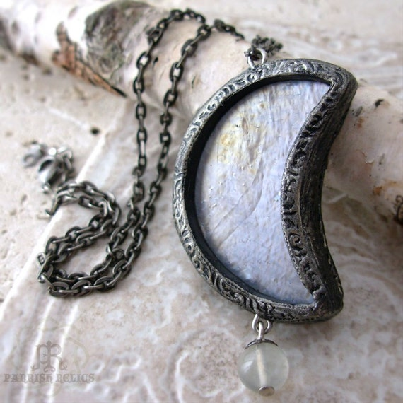 Diana's Crescent - Stained Glass Luna Pendant
