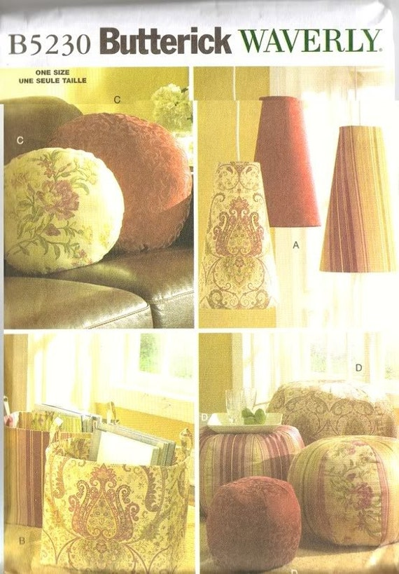 Lamp Shade, Pillow, Footstool, Storage and Tote Bag Butterick 5230 WAVERLY Sewing Pattern