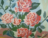 Vintage Roses Paint By Number In Wood Frame