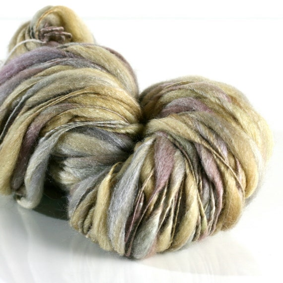 Nymph, HANDSPUN tufts yarn, BFL/Silk undyed