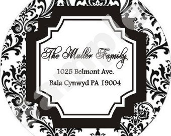 Damask Labels - Personalized Address Labels - 5 sheets - Wedding Labels - Bridal Shower Labels - Anniversary Party Labels - Envelope Seals
