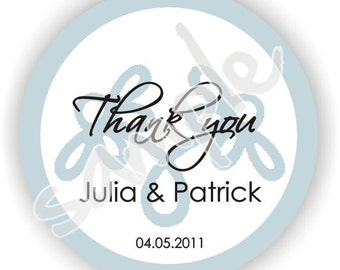 Personalized Thank You circle stickers - Set of 5 sheets - Wedding - Monogram - Bridal Shower - Thank You - Favor Tag - Address Labels