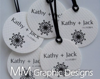 Personalized Thank you Circle Tags - 1.75inch - Set of 200 - Weddings - Baby Shower - Birthday - Bridal Shower