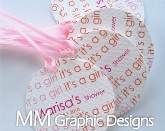 Baby Shower Tags - It is a Girl Tags - Personalized 1.75inch Thank you Circle Tags - Set of 60 - Custom Baby Shower Tags