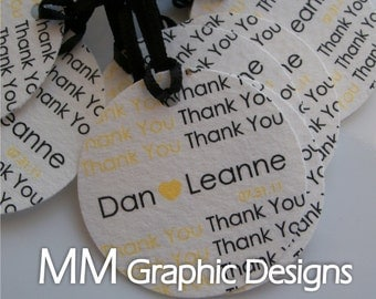 Personalized 1.5inch Thank you Circle Tags - Set of 120 - Weddings - Baby Shower - Birthday - Bridal Shower