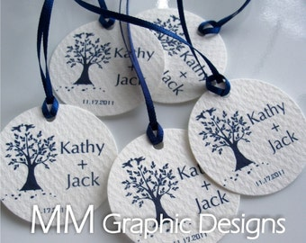 Personalized Thank you 1.75inch Circle Tags - Set of 100 - Weddings - Baby Shower - Birthday - Bridal Shower