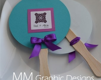 Custom Circle Wedding Fan - Set of 50 - Weddings - Birthday - Baby Shower - Bar and Bat Mitzvah
