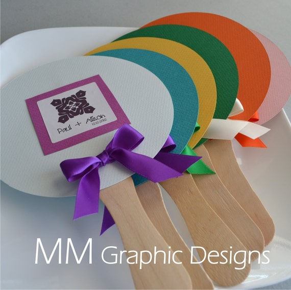 Circle Wedding Fan - Set of 50 - Pick your Colors and Design - Weddings - Birthday - Baby Shower - Bar and Bat Mitzvah