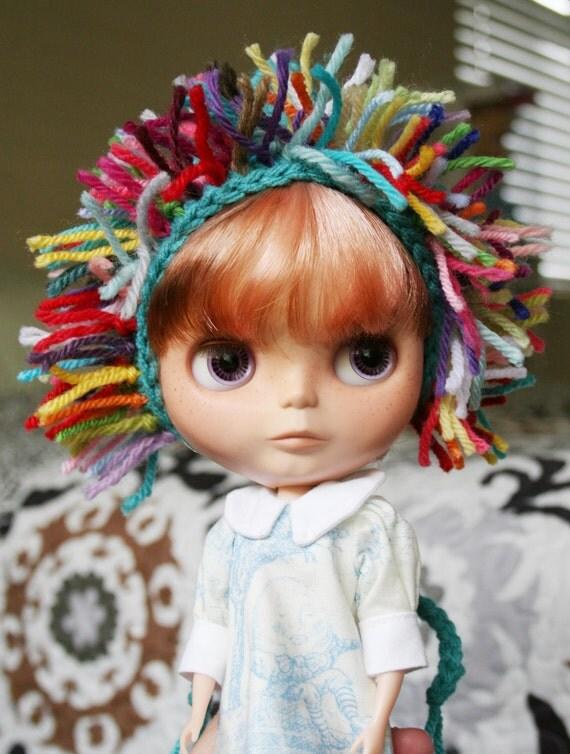 Gnome Helmet for Blythe - Crochet Pixie Hat with Multi-Color Edge