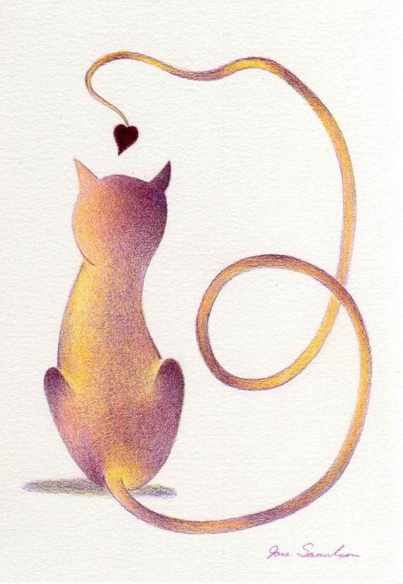 Love Cat - Original Drawing - Stylized Cat