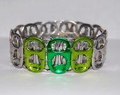 Now on Sale - Recycled Soda Tab Bracelet with green accent tabs