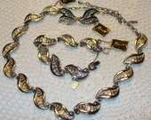 Vintage 1980's Monet silver tone full parure with original tags - necklace, bracelet, earrings