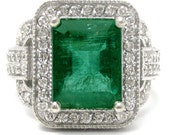 Antique style EMERALD cut Emerald & Diamonds engagement ring EMR101