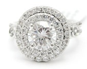 1.92ctw ound cut ANTIQUE STYLE double halo diamond engagement ring AR128