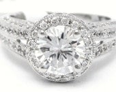 1.87ctw ound cut ANTIQUE STYLE double shank diamond engagement ring AR130