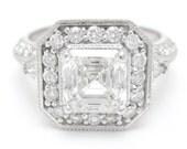 2.70CTW ASSCHER CUT prong set antique style diamond engagement ring