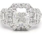 2.16ctw CUSHION cut ANTIQUE style diamond engagement ring w round & baguette cut diamonds C22