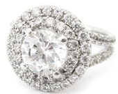 2.30ctw round cut antique style double halo diamond engagement ring R181