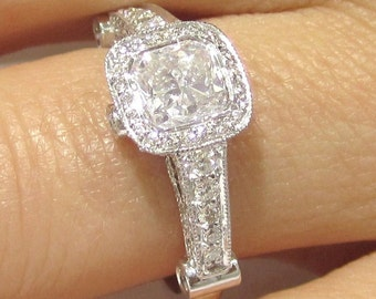 1.75ctw CUSHION cut antique style designer inspired diamond engagement ring 14k white gold
