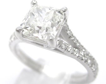 1.65ctw CUSHION cut split shank STYLE diamond engagement ring 14k white gold
