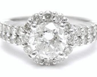 1.59ctw round cut prong set diamond engagement ring 14k white gold