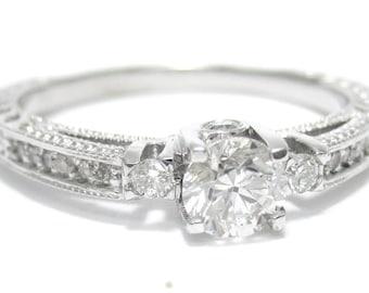 Round cut prong set antique style diamond engagement ring R160