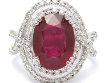 4.59ctw Oval cut rich RED RUBY & Diamonds engagement ring Rub1500